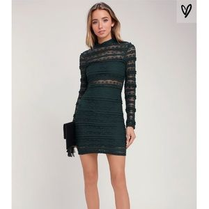 NWT Lulus LUSH Reece Forest Green Lace Dress